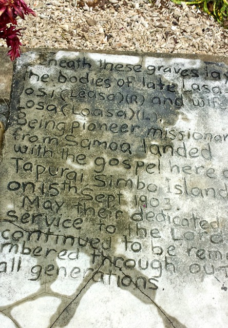 The gravestone of Samoan Methodist missionaries who worked in Simbo from 1903 to 1930.