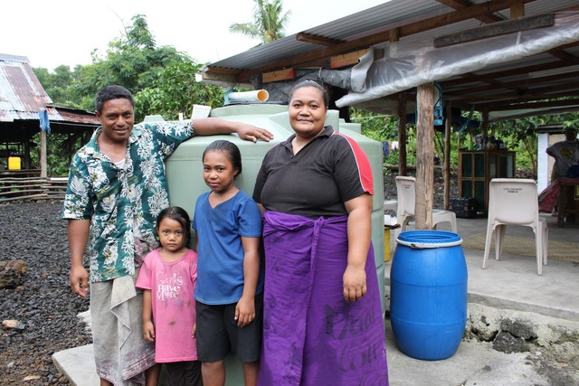 Finemat weaver Talalelei Oreni and husband Oreni Kiso and their family at Fagasa were one of the fortunate recipients of a water tank and fittings donated by the Asia-Pacific Ladies Friendship Society of Japan and Samoa Embassy staff.